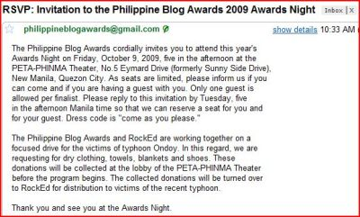 Philippine Blog Awards 2009 Awards Night Invitation